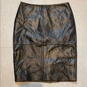 Black Leather TALBOTS Pencil Skirt